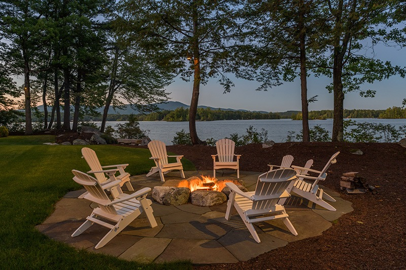 Stone Outdoor Fire pit at night